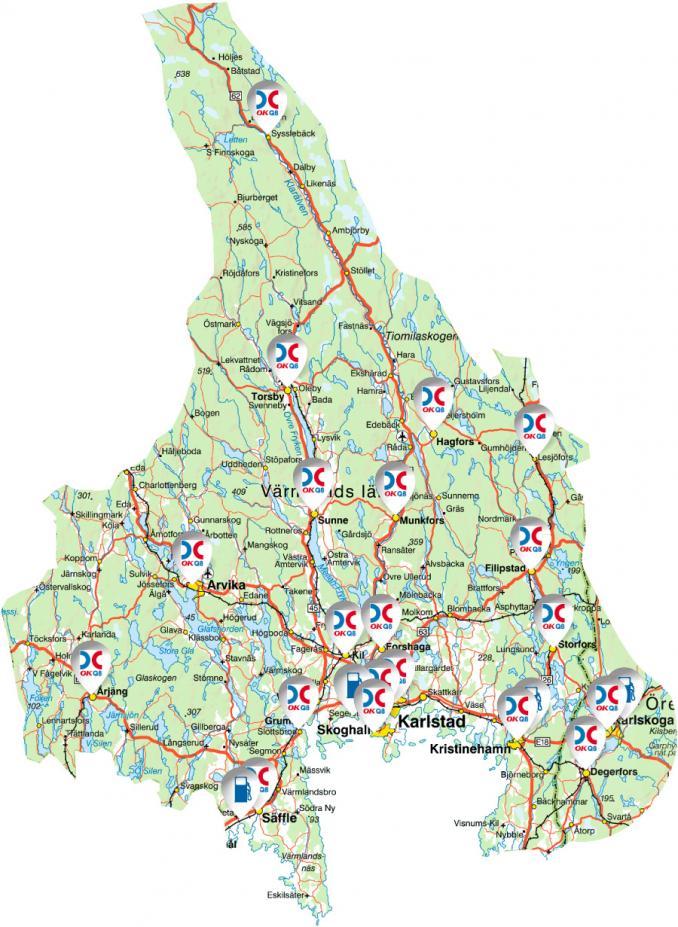 värmland karta Våra stationer | OK värmland karta